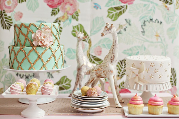 lattice cake design mint and gold cake from Brown Betty Dessert Boutique, Allison Conklin Photography