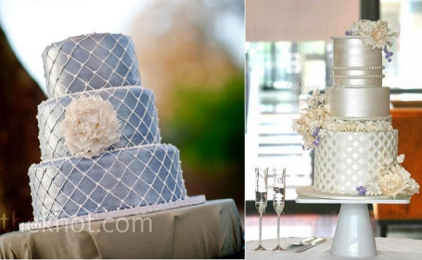 lattice cake designs by Sedona Cake Couture via The Knot left and by Sugar Pot right