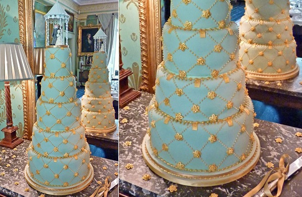 lattice wedding cake design in mint and gold by Sandra Monger Cakes