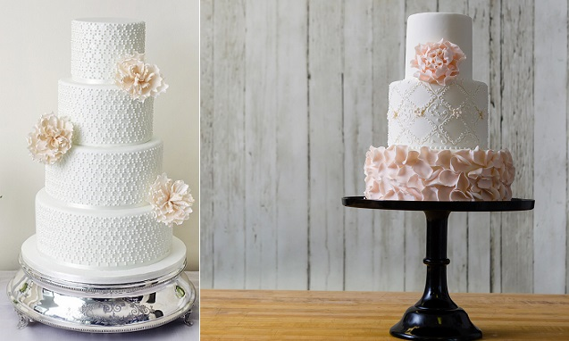 lattice wedding cake designs by Abigail Bloom, left and by The Art of Cake, Canada right