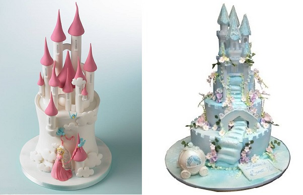 princess castle cakes by Debbie Brown left and from hey hyphen cookie.com right