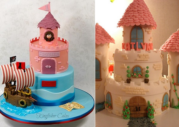 princess castle cakes by Kingfisher cakes left and Cuppie Cakes via Flickr right