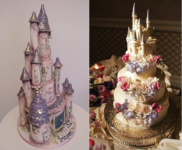 princess castle cakes from Brighton Cake Co left and via Disney Fairytale Weddings right