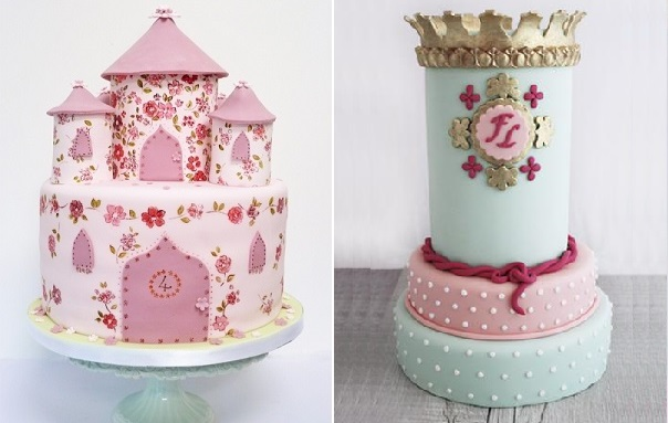 princess castle cakes from Nevie Pie Cakes left and Ilusiona Cakes right
