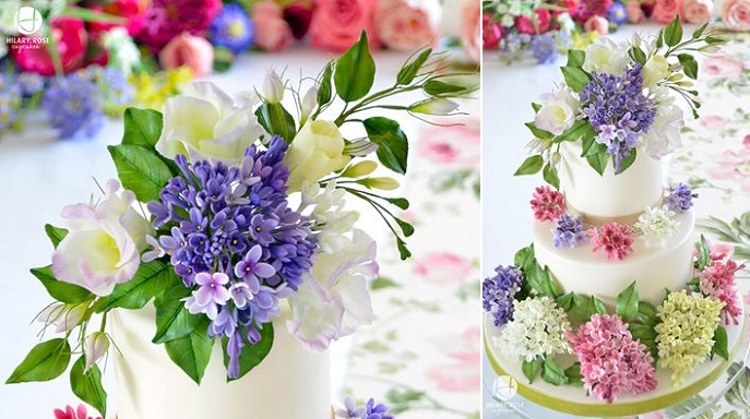 sugar foliage, lilac, lisianthus, freesia sugar flowers by Hilary Rose Cupcakes