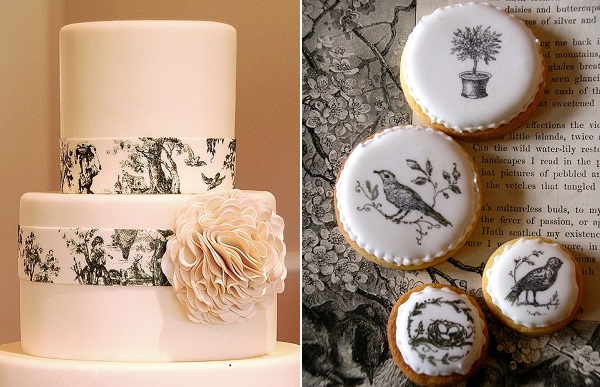 toile cake design by Gateaux Inc left and toile decorated cookies by Nice Icing UK