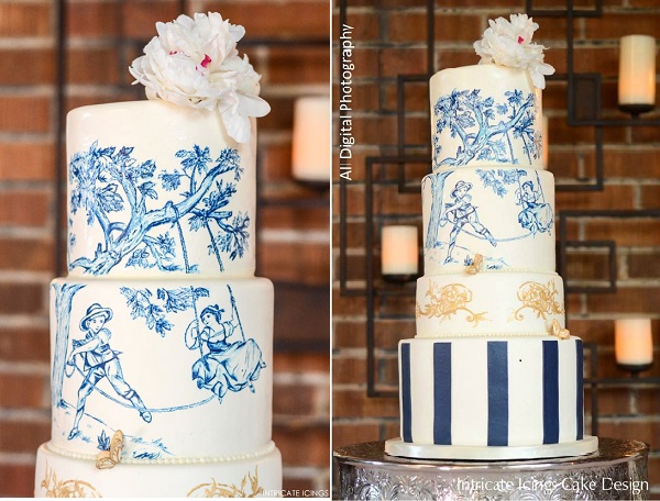 toile wedding cake blue, navy and gold by Intricate Icings, All Digital Photography