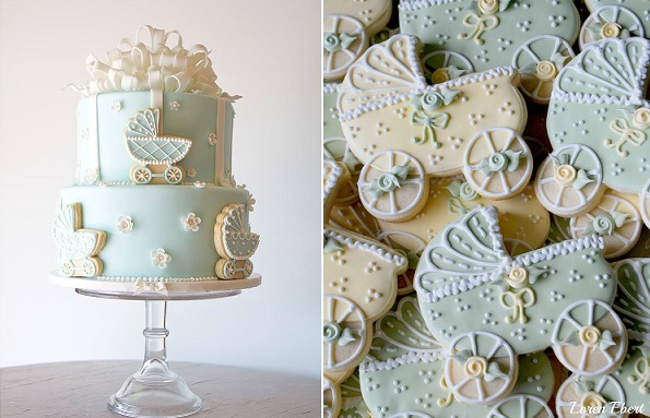 vintage baby carriage cake byThe Pastry Studio, left and cookies Loren Ebert via The Baking Sheet right