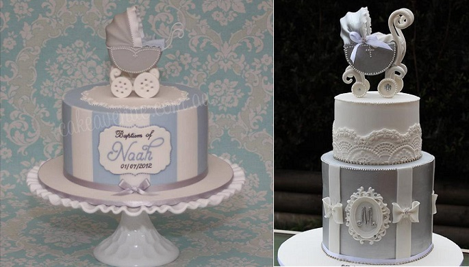 vintage baby carriage cakes by Cake Avenue left, Cake by Kim AU, right
