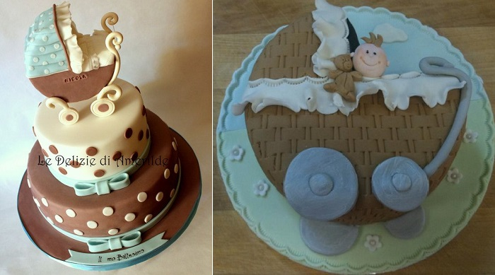 vintage baby carriage cakes by Le Delizie di Amerilde left and A Touch of Magic, Cork right