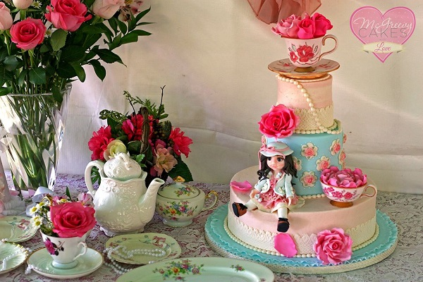 vintage doll cake with gumpaste tea cup and saucer by McGreevy Cakes