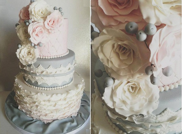 vintage grey wedding cake by Jenna Rae Cakes