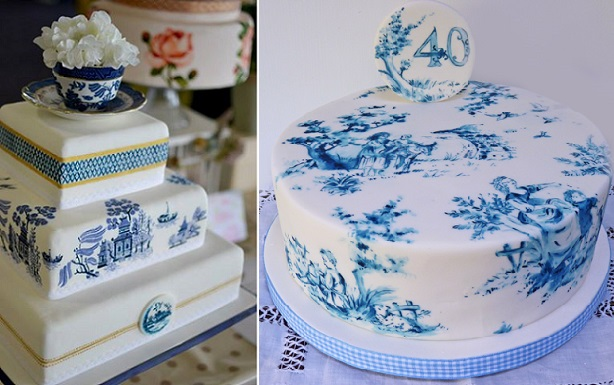 willow pattern wedding cake by Murray Me left and toile cake by Nevie Pie right