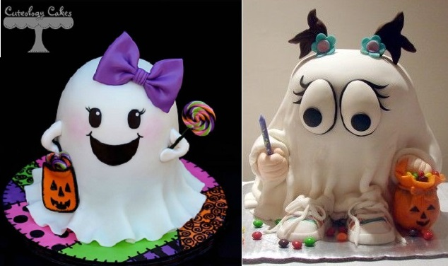 3D ghost cakes trick or treater halloween cake by Cutelogy Cakes left and by Eveniser on Cake Central right