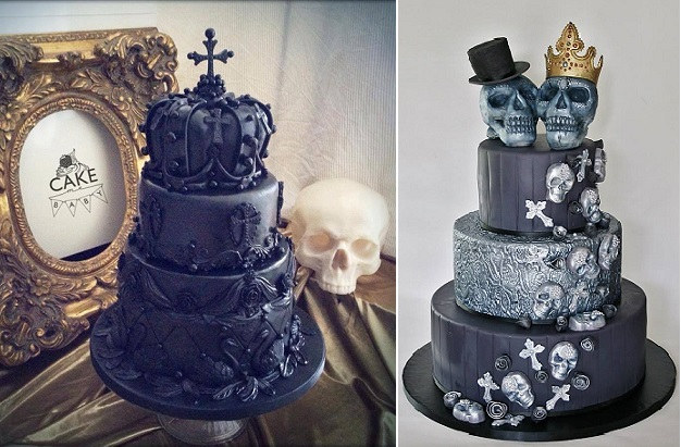 Halloween wedding cakes gothic style by Cake Me Baby left, Sannas Tartor right