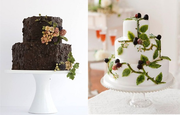 autumn berries wedding cakes by Maggie Austin left, Victoria's Cake Boutique, right