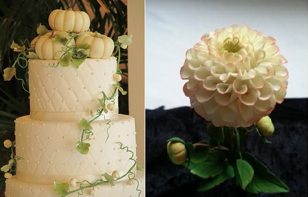 autumn wedding cake by Happy Cakes via Cakes Decor, gumpaste dahlia by La Lavende Cake Boutique