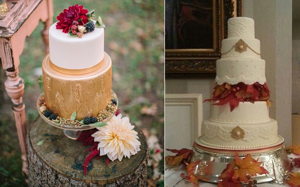 autumn wedding cakes by Elysia Root Cakes left and Cocomoiselle right