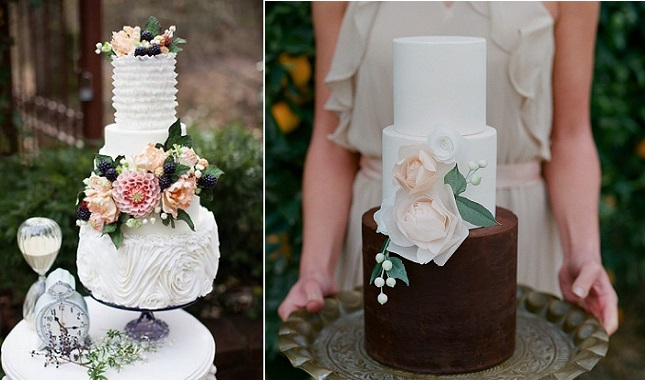 autumn wedding cakes by the Artisan Cake Co left, Hey There Cupcakes, Carmen Santorelli Photography, right