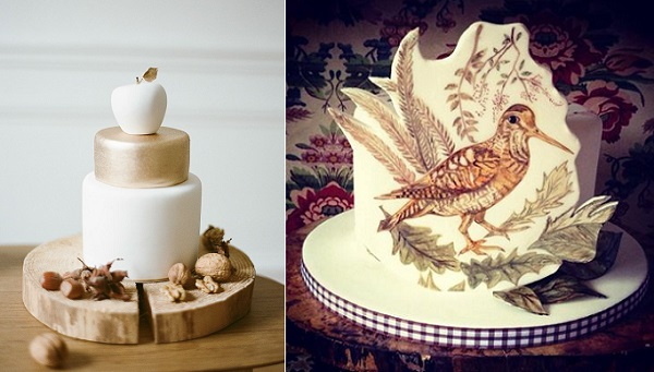 autumn wedding cakes from Sugar Plum Cake Shop, Greg Finck Photography left, Artful Cakery, right