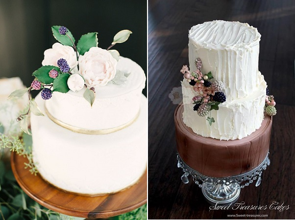 autumn wedding cakes via Style Me Pretty, Brklyn View Photography left, Sweet Treasures Cakes right