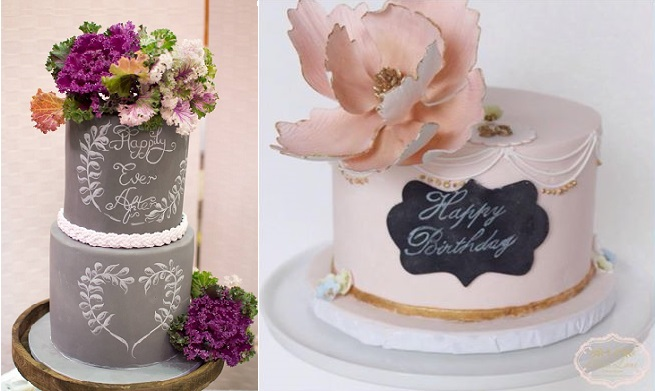 chalkboard cakes by Sweet Bea's , via Pinterest right
