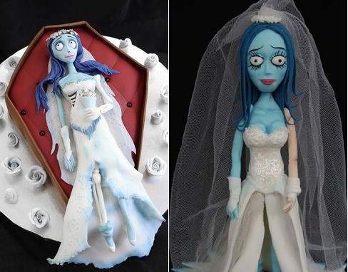 corpse bride cake topper by Verusca Walker right and corpse bride in coffin by Sprinkle Bakes left