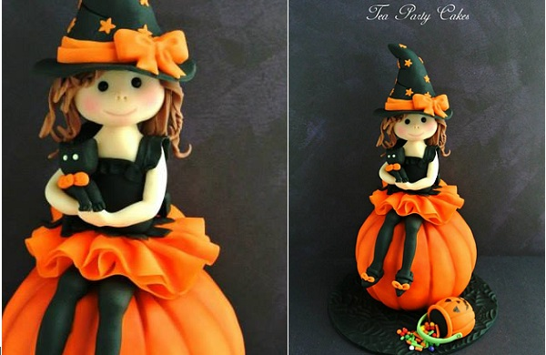 cute halloween witch tutorial by Tea Party Cakes