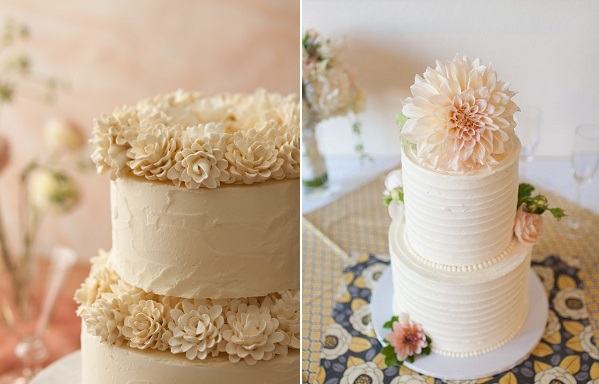 dahlia cake by Signe Sugar Flowers left, image right by Rachelle Derouin Photography via Wedding Chicks