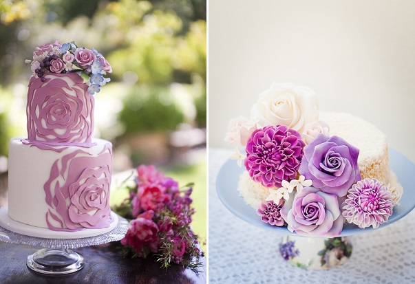 dahlia cakes by Fantasy Frostings left, photo by Cakes & Kisses, right by Lulu's Sweet Secrets