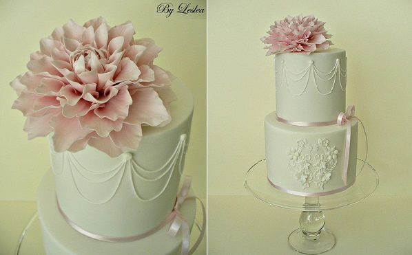 dahlia wedding cake by Leslea Matsis