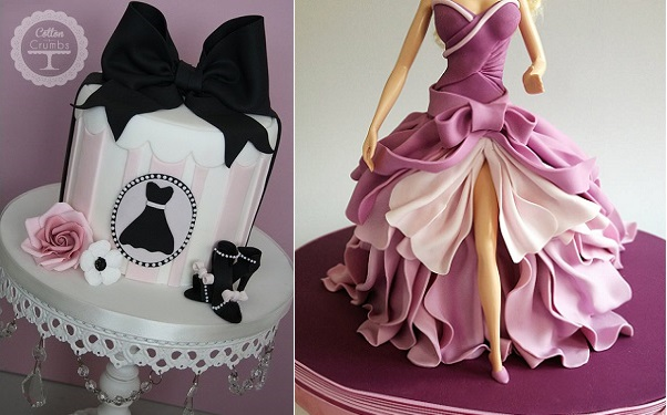 fashion cakes by Cotton & Crumbs left,  Ipoh Bakery right