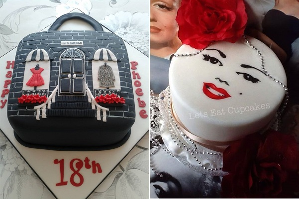 fashion cakes by Creations by Paula Jane left, Let's Eat Cupcakes, right