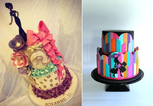 fashion cakes by Dee's Sweet Surprises left, Little Wish Cakes right