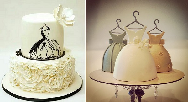 fashion cakes by Lulu Cake Boutique left, dress cakes from Calling All Cakes