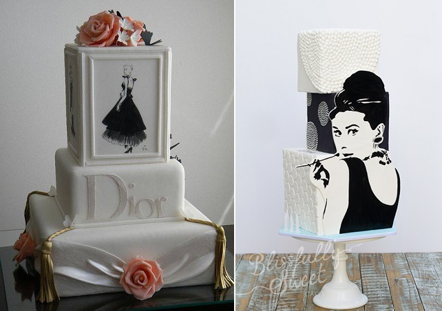 fashion cakes by Makememycake left, Blissfully Sweet Cakes right