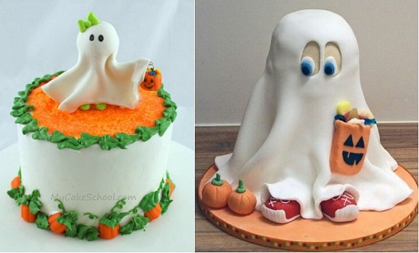ghost cake tutorial from mycakeschool .com left and 3D ghost cake trick or treater via Inked Magazine