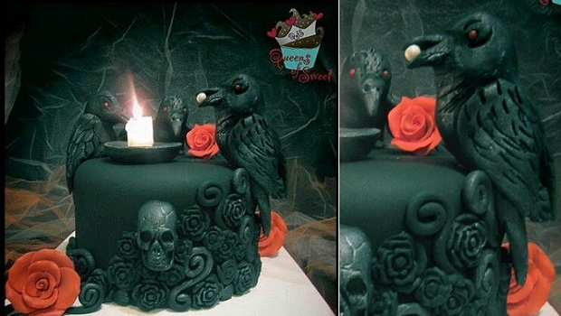 gothic halloween cake black crow cake by The Queeens of Sweet