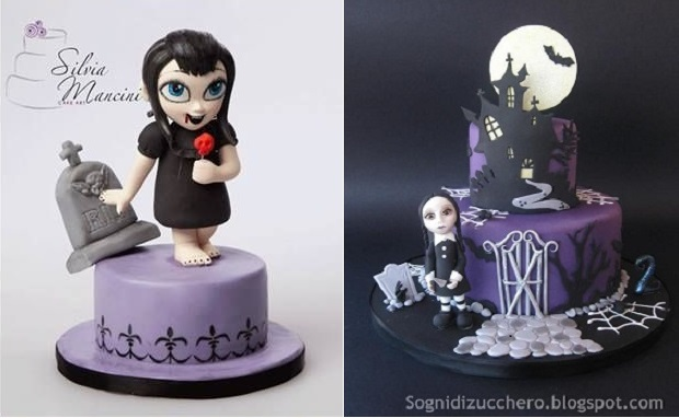 gothic halloween cakes by Silvia Mancini left and via SognidiZucchero blog right