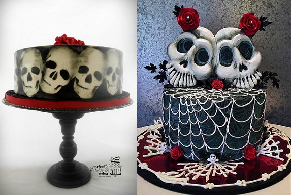 gothic halloween cakes skull cakes in black and red by Perfect Indulgence Cakes left and by Verusca Walker right