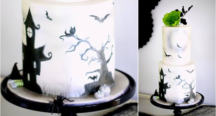 halloween cake silhouette cake haunted castle and bats by Michelle The Cake Chef