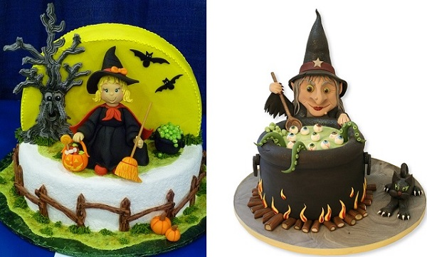 halloween cake witch cake by by Jeanne and Debbie Braman left and by thecakestore .co.uk right