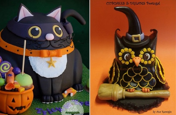 halloween cat cake by the Royal Bakery, halloween owl cake by Cupcakes & Dreams, PT