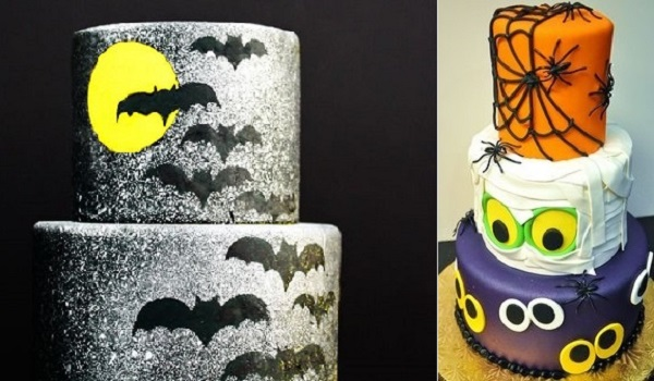 halloween twilight bat cake by Erin Gardner via the Cake Blog left and  cake via Pinterest right