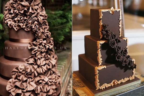 luxury chocolate wedding cakes from Hall of Cake UK left, image right by Laura Kimmerer Photography via Ruffled Blog