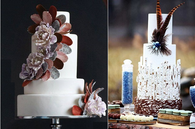 pheasant feather wedding cake left via, SweetSweets CA, right, and feather cake by The Caketress left