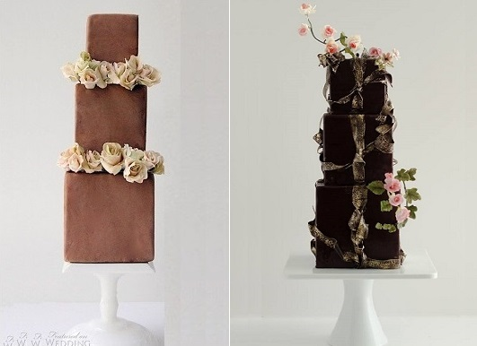 square milk chocolate wedding cake by Maggie Austin Cake