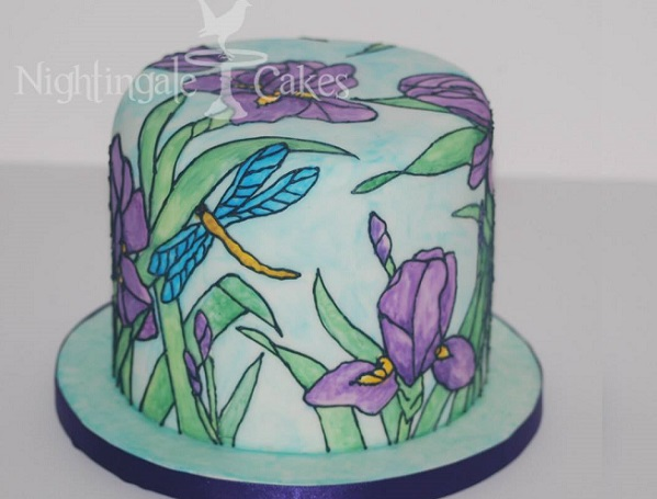 stained glass cake buttercream art by Nightingale Cakes