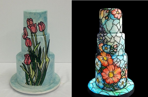 stained glass cakes by Handi's Cakes left and Vinism Sugar Art, Kelvin Chua right