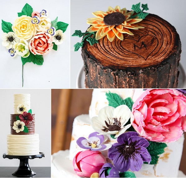 woodgrain and rustic cakes from Erin Gardner's Chocolate Flowers tutorial on Craftsy